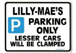 LILLY-MAE'S Personalised Parking Sign Gift | Unique Car Present for Her |  Size Large - Metal faced